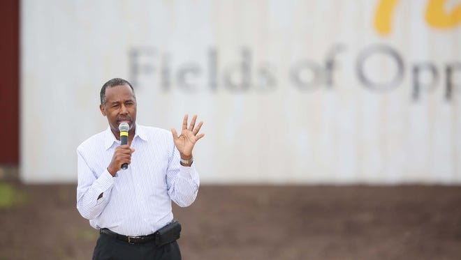 Ben Carson touted faith and values, receiving a standing ovation when he ended his speech at the first-ever Roast and Ride, a fundraiser for Iowa senator Joni Ernst, in June 2015 at the Central Iowa Expo grounds in Boone.