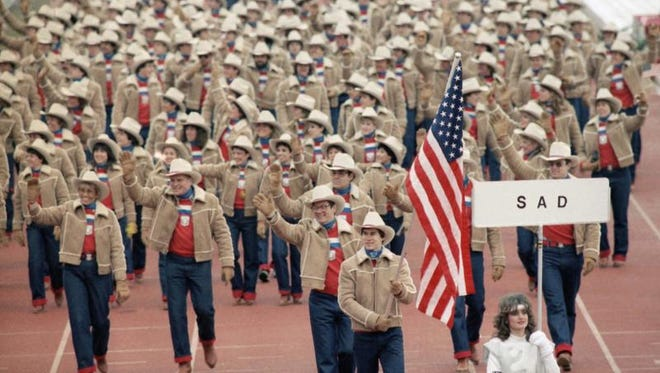 Frank Masley carried the U.S. flag during the opening ceremony of the 1984 Winter Olympics in Sarajevo.