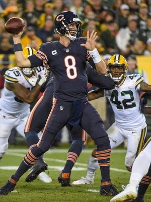 Sep 28, 2017; Green Bay, WI, USA; Chicago Bears quarterback Mike Glennon (8) attempts a pass in the second quarter during the game against the Green Bay Packers at Lambeau Field.
