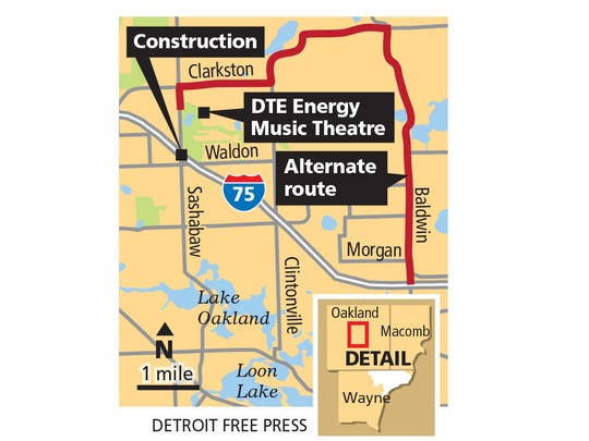 Alternate DTE Energy Music Theatre routes