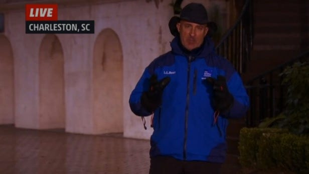 Weatherman Jim Cantore reporting from Charleston, South Carolina.