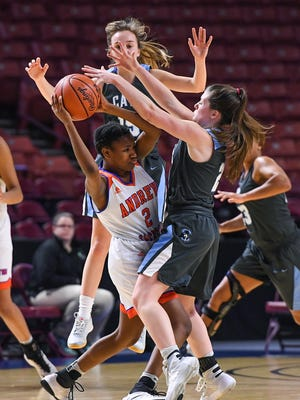 Christ Church plays Andrew Jackson during the Class AA Girls Upper State Championship at Bon Secours Wellness Arena on Friday, February 24, 2017 .