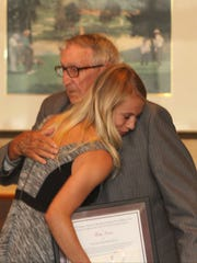 Haley Carter, Cypress Lake High School, couldn't thanks Coach Elmer Tremont and the rest of the scholarship committee enough. She even hugged Coach Tremont. Hillmyer-Tremont Scholarship Awards Banquet in May, 2015.