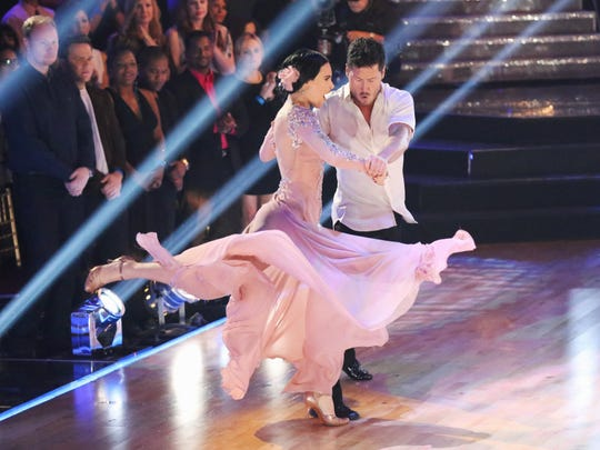 """Rumer Willis (L) and her professional partner Val Chmerkovskiy perform during the series premiere of """"Dancing with the Stars,"""" on Monday, March 16."""