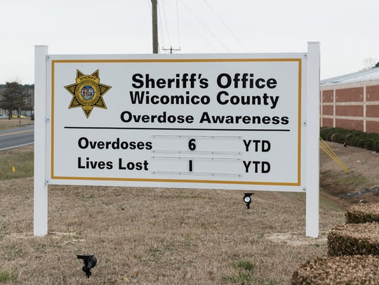 A sign outside the Wicomico County Sheriff's Office