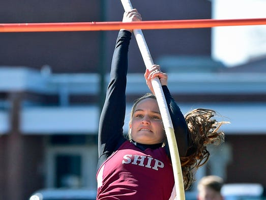 Shippensburg's Natalie Nye competes in the pole vault