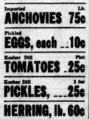 An ad from a local grocery in 1946 advertising pickled eggs for 10 cents each.