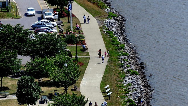 This view of Waryas Park along the City of Poughkeepsie waterfront was taken from the Walkway Over the Hudson.