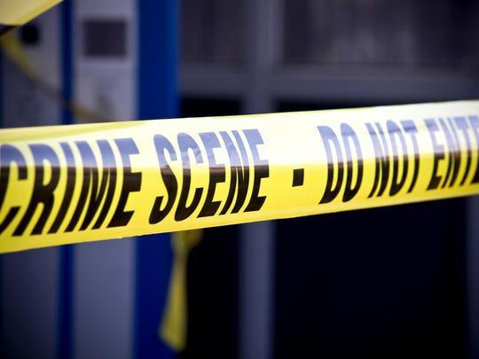 Close up crime scene investigation police boundary