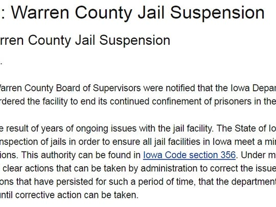 The Department of Corrections ordered Warren County