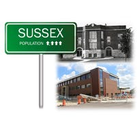 The village of Sussex has grown at an exponential rate since its inception in 1924 and even recently. Construction of a new village hall is a sign of the continued growth. Also pictured is the current village hall, which will be empty as of October and demolished soon after.
