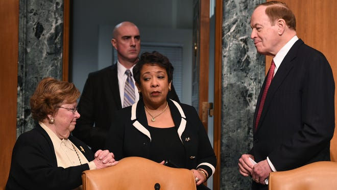 Attorney General Loretta Lynch meets with Senate Commerce, Justice, Science and Related Agencies subcommittee Chairman Sen. Richard Shelby, R-Ala., and ranking member Sen. Barbara Mikulski, D-Md., in Washington, Jan. 20, 2016.