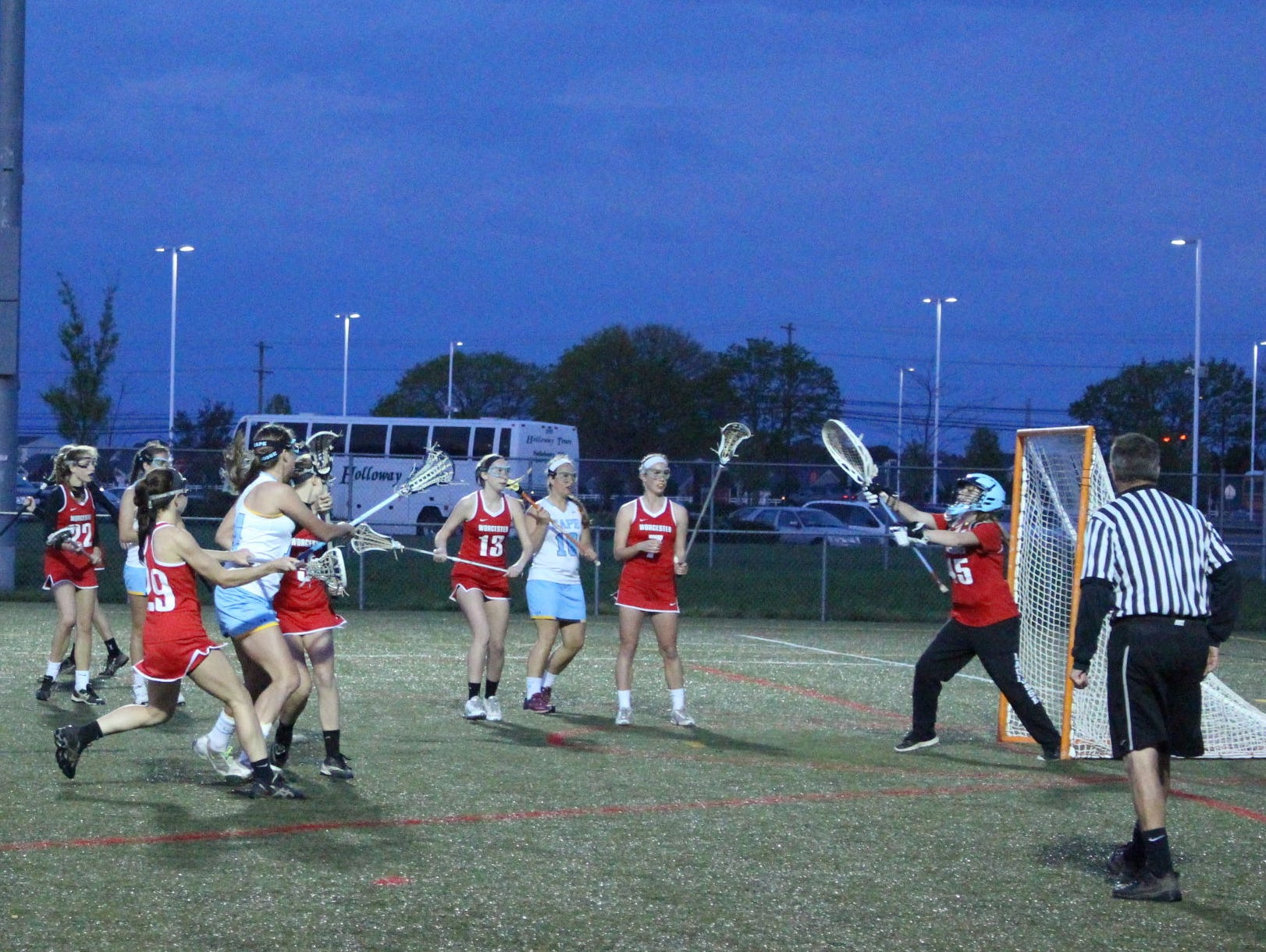 Cape Henlopen Sarah Tappan takes a shot against Worcester Prep.