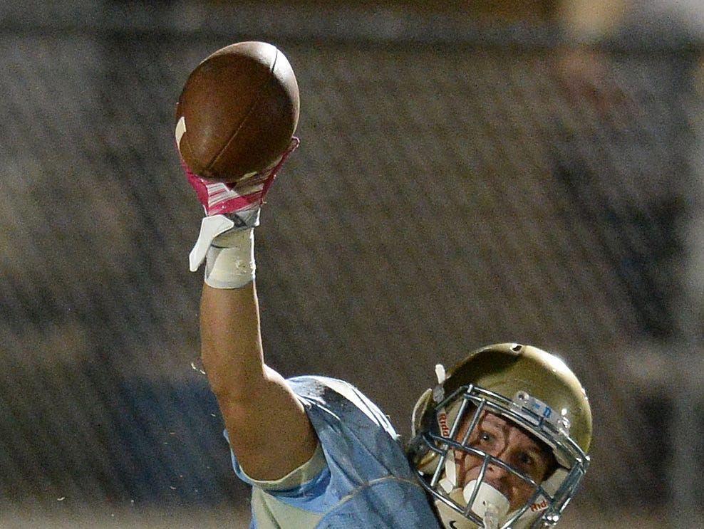 Daniel's Carter Groomes (8) holds the ball up after intercepting a Pickens pass Friday, October 16, 2015 at Daniel High in Central.