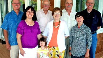 Evelyn Birkby, center, with her family.