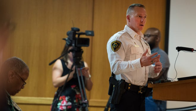 Greenville County Sheriff Will Lewis speaks during a public hearing to discuss the opioid crisis at Greenville County Council on Wednesday, July 12, 2017.