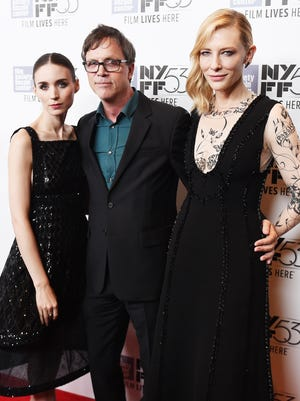 Rooney Mara, left, Todd Haynes and Cate Blanchett attend the premiere of 'Carol' during the New York Film Festival on Oct. 9, 2015 in New York.