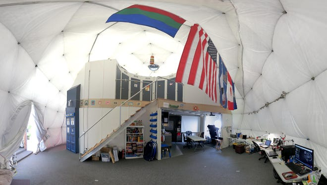 The interior of HI-SEAS habitat on the northern slope of Mauna Loa in Hawaii on April 9, 2015. Six people shut themselves inside a dome in Hawaii for a year, in the longest U.S. isolation experiment yet aimed at helping NASA prepare for a pioneering journey to Mars.