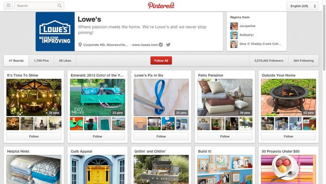 The Lowe's Pinterest page.