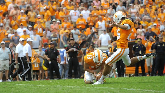 Tennessee kicker Aaron Medley is off to a lackluster