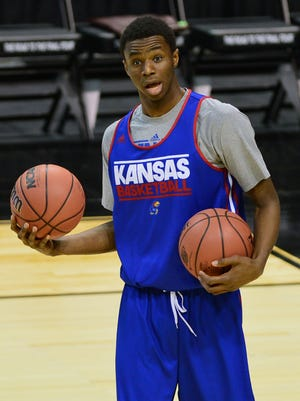 Kansas Jayhawks guard Andrew Wiggins is a projected NBA draft lottery pick.