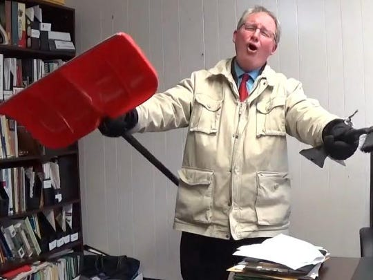 Haddonfield Assistant Superintendent Mike Wilson sings in a video announcing a snow day Thursday.