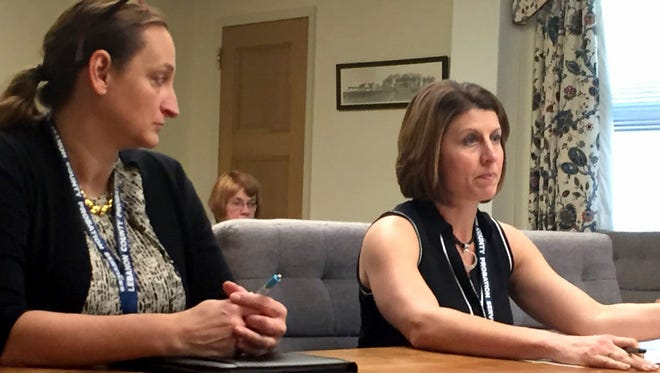 Lebanon County Adult Probation Director Sally Barry (r) and Audrey Rackow, deputy director, explain a jail diversion program grant opportunity to the Lebanon County commissioners on Thursday.