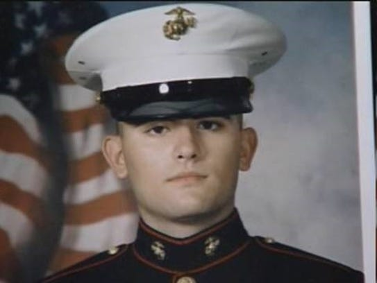 LCPL Taylor Prazynski in his U.S. Marine Corps uniform.
