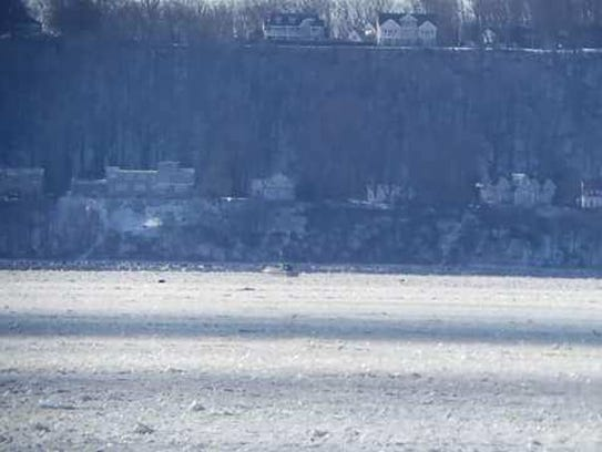 Danny Davis' houseboat stuck on a frozen Sandy Hook