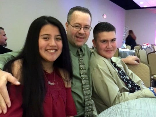 George Chewens with his daughter, Breana, and son,
