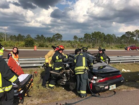 Palm Bay Fire Rescue extricated a patient after a crash