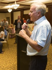 Andy Cook addresses supporters during the primary on