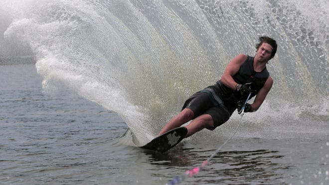 Collin Frucci, age 17 from Hanover, practices the slalom water ski on a lake in Pembroke on August 25, 2020. Frucci recently competed in Nationals, which was held in Louisiana from August 5-8. Photo by Lauren Owens Lambert / for The Patriot Ledger.