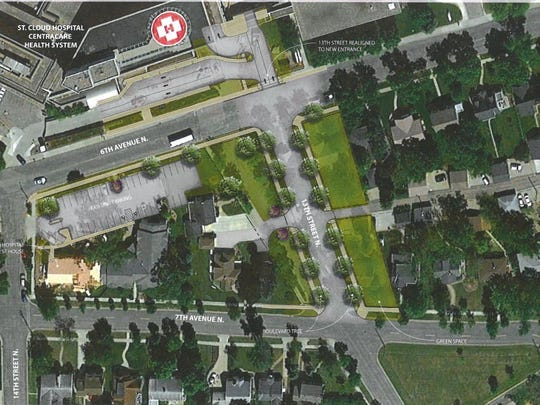 A drawing shows the planned realignment of 13th Street North near St. Cloud Hospital.