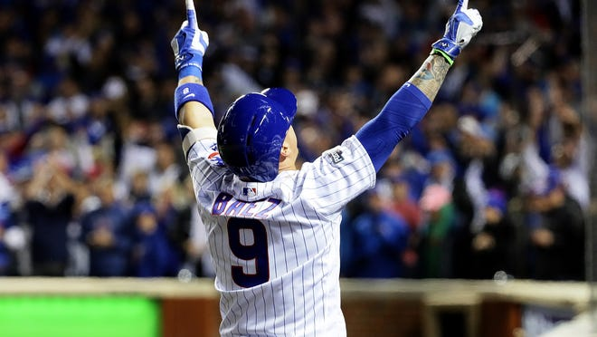CHICAGO, ILLINOIS - OCTOBER 07:  Javier Baez #9 of the Chicago Cubs celebrates after hitting a home run in the eighth inning against the San Francisco Giants at Wrigley Field on October 7, 2016 in Chicago, Illinois. (Photo by Jonathan Daniel/Getty Images) *** BESTPIX *** ORG XMIT: 674215233 ORIG FILE ID: 613266806
