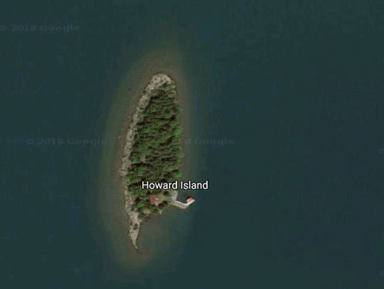Howard Island is in Lake Huron, east of Michigan's