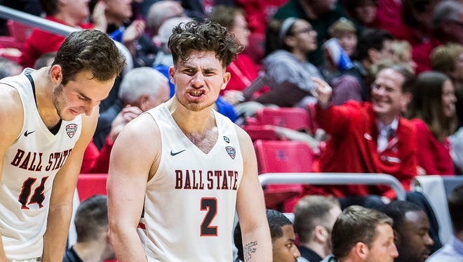 Tayler Persons, shown here celebrating a play earlier this season against North Florida, hit another late 3-pointer he has become known for.