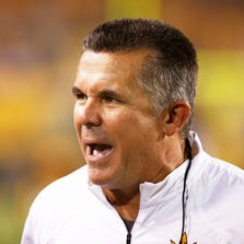 Arizona State head coach Todd Graham yells at his players against Weber State during the season opener on Aug. 28, 2014 at Sun Devil Stadium.