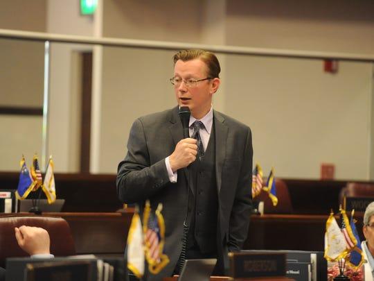 State Sen. Ben Kieckhefer, R-Reno, speaks on the Senate