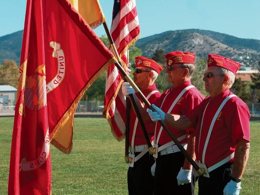 The color guard from the Gaffney Oglesby Detachment 1328 Marine Corps League opened the ceremonies on Saturday for the Grant County Senior Olympics field events. Phoebe Lawrence - Sun-News