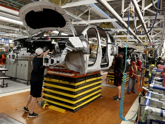 A 2017 Chrysler Pacifica on the assembly line at the