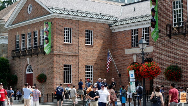 "The National Baseball Hall of Fame and Museum in Cooperstown, NY. State Sen. James Seward, who represents Cooperstown, wants to make baseball New York's ""official sport."""