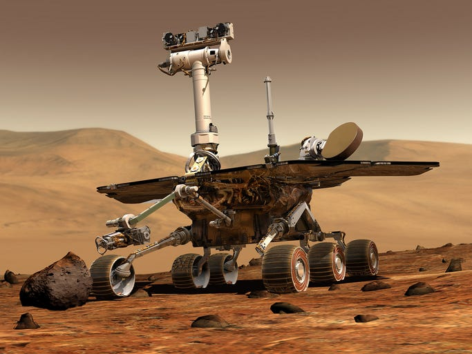 An artist rendering released by NASA shows the rover Opportunity on the surface of Mars. <p>An exhibition by the Smithsonian National Air and Space Museum in Washington celebrates the images and achievements of the rovers Opportunity and Spirit on the 10th anniversary of their landings on the Red Planet.</p>