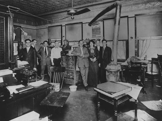 Arizona Republic Phoenix GazettePhoenix Newspapers Inc. 1914 Business office of the arizona Republican which was located at the N.E. corner of Second and Adams Streets. The handsome gentlemen and pretty lady from l-r are: Sidney Wolf, Cashier and Chief Accountant; Robert Gordon, Collections; Richard Brewer, Stenographer; Eugene Pierson, Accountant; A.R. Redondo, Printer - Ass't Foreman; Edwin R. Powell, Circulation Manager; Miss. Ponder, Circulation; Clinton Jackson, Classified; Oliver King, CirculationPhoto by property of Oliver KingDigital Migrationbw print