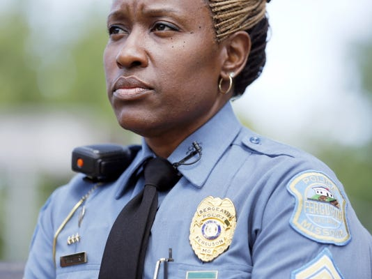 Ferguson Police Sgt. Dominica Fuller pauses during an interview on July 23 in Ferguson, Mo.