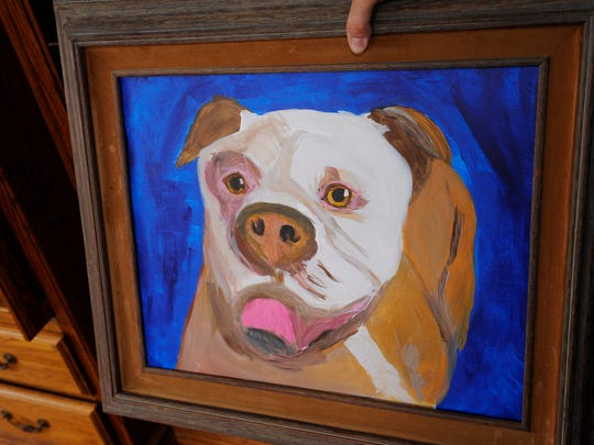 A painting by retired Mason veterinarian Dail Patterson Jr. of his Old English bulldog, Phineas.