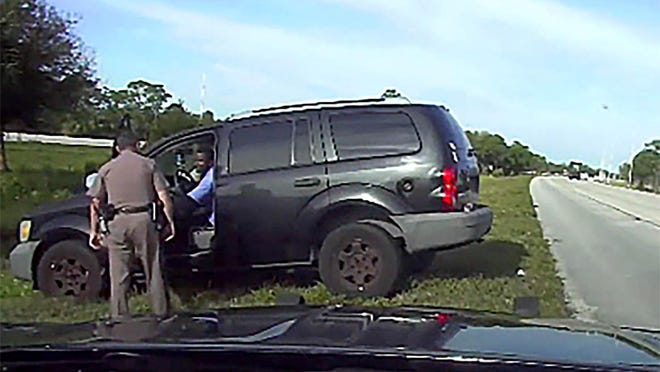 Florida Highway Patrol trooper Joseph Bullock, 42, during his first encounter with Franklin Reed III of Palm Bay, along Interstate 95 near Palm City in Martin County on Feb. 5, 2020. Bullock returned about an hour later and was shot by Reed. An off-duty Riviera Beach police officer then fatally shot Reed.