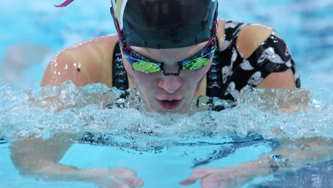 River View freshman Lindsey Ashcraft competes for a second place finish in the 100 breaststroke Friday during the ECOL swimming championships at Coshocton High School.