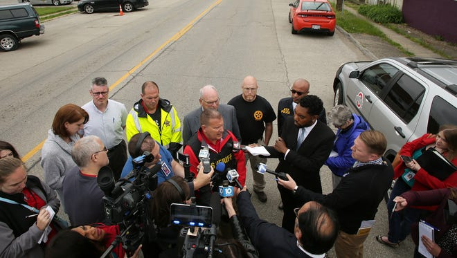 Licking County Sheriff Randy Thorp holds a press conference just blocks away from where a gunman killed Kirkersville Police Chief Steven Eric DiSario, two Pine Kirk Care Center employees, and self, Friday morning on Main Street in Kirkersville.