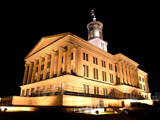 Tennessee state Capitol at night Monday, Jan. 30, 2017,